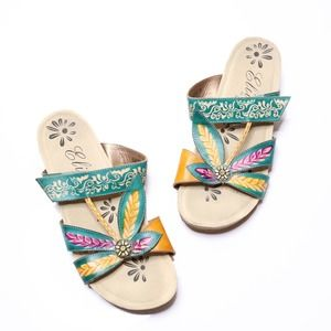 CORKYS ELITE Baltic Hand-Painted Wedge Sandals 9